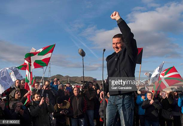 Leader of the Basque Patriotic Left movement Arnaldo Otegi who has been serving a sentence of six years on charges of terrorism gestures while giving...