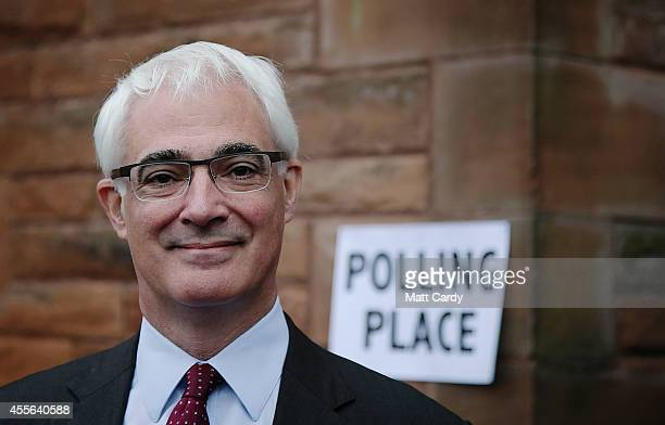 Leader of the Better Together campaign Alistair Darling arrives to vote at at Church Hill Theatre polling station in Morningside on September 18 2014...