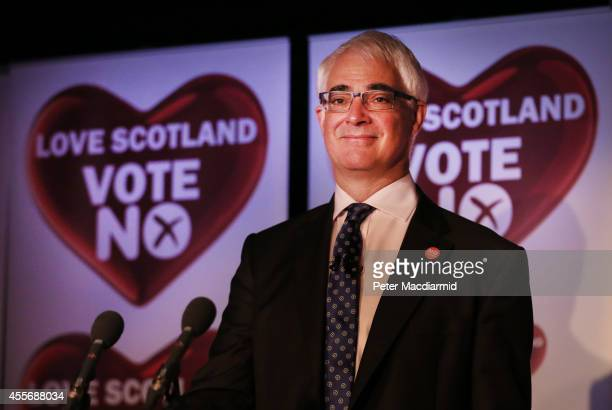 Leader of the Better Together campaign Alistair Darling gives a press conference at the campaign Headquarters at the Marriott Hotel on September 19...