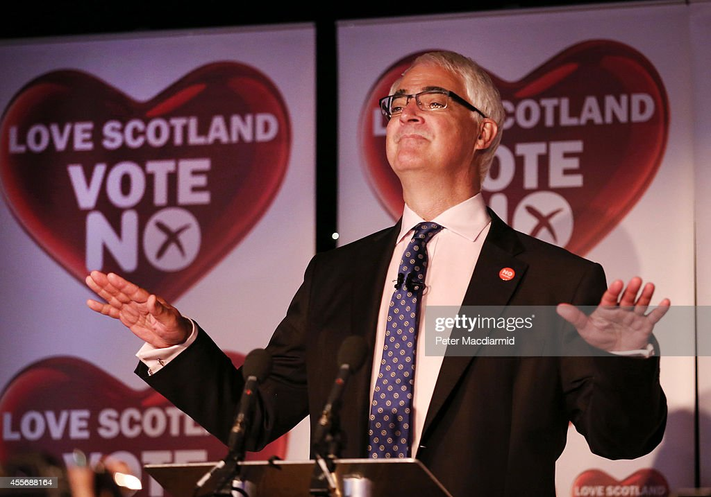 Leader of the Better Together campaign, Alistair Darling, gives a press conference at the campaign Headquarters at the Marriott Hotel on September 19, 2014 in Glasgow, Scotland. The majority of Scottish people have today voted 'No' in the referendum and Scotland will remain within the historic union of countries that make up the United Kingdom.