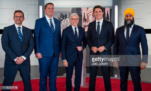 Leader of the Bloc quebecois YvesFrançois Blanchet Leader of the Conservative Party of Canada Andrew Scheer Canadian journalist Pierre Bruneau Prime...