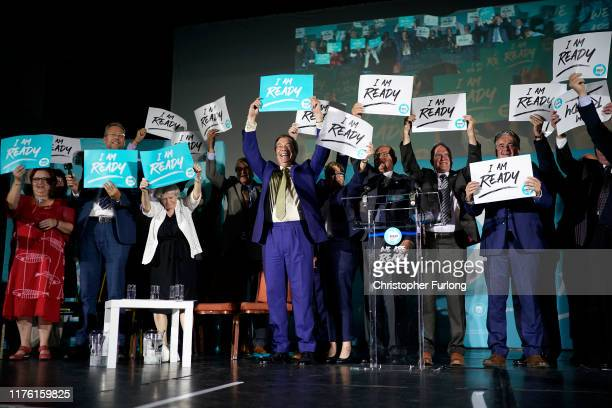 Leader of the Brexit Party Nigel Farage addresses party members and delegates at the Neon Theatre during the Brexit Party Conference touron September...