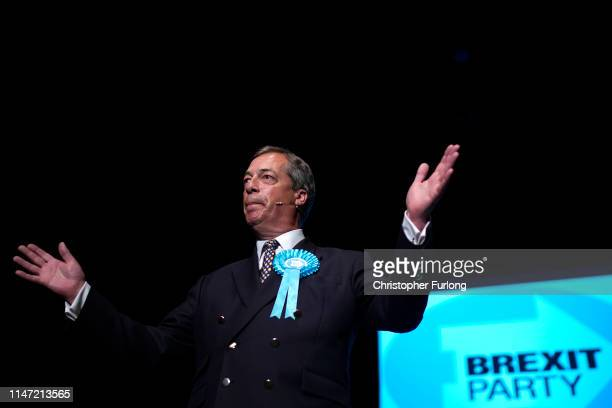 Leader of the Brexit Party Nigel Farage addresses supporters during a rally at The Broadway Theatre on June 01 2019 in Peterborough England Mike...