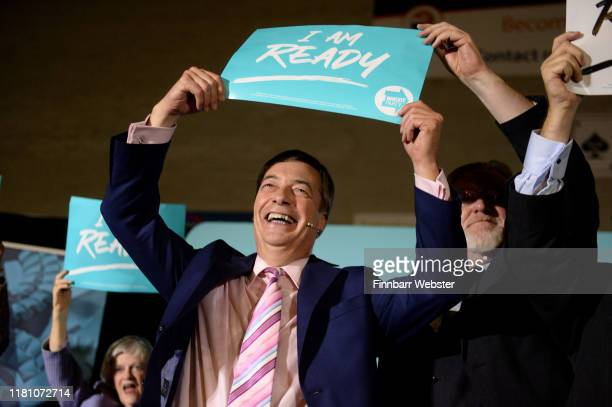 Leader of the Brexit Party Nigel Farage after his speech at The Brexit Party rally at Carn Brea Leisure Centre on October 14 2019 in Camborne England...