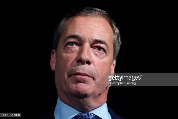 Leader of the Brexit Party Nigel Farage speaks during the Brexit Party Conference tour at the Kent Event Centre Kent Showground on September 26 2019...