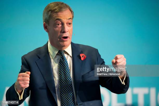 Leader of the Brexit Party Nigel Farage speaks during the Brexit Party general election campaign tour at the International Convention Centre on...