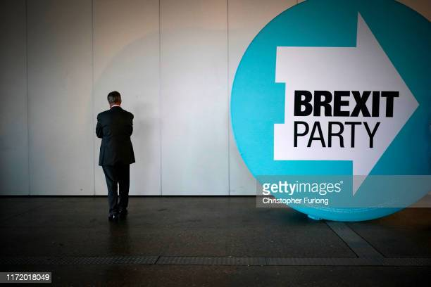 Leader of the Brexit Party Nigel Farage waits to go on stage before addressing party members and delegates at the Lincolnshire County Showground...