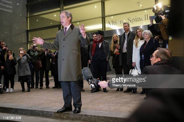 Leader of the Brexit Party since 2019, and Member of the European Parliament for South East England, Nigel Farage speaks to the media as he departs...