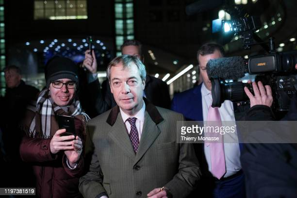 Leader of the Brexit Party since 2019, and Member of the European Parliament for South East England Nigel Farage speaks to the media as he departs...