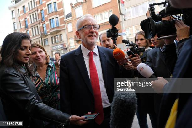 Leader of the British Labour Party Jeremy Corbyn arrives at a gathering of European Socialists prior to a summit of European Union leaders on October...