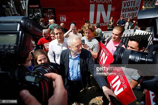 Leader of the British Labour Party Jeremy Corbyn arrives to speak to students on the upcoming referendum vote on leaving or staying in the EU at the...