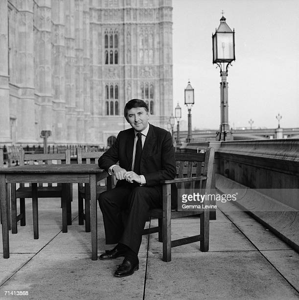 Leader of the British Liberal Party David Steel on the terrace outside the Palace of Westminster London circa 1985