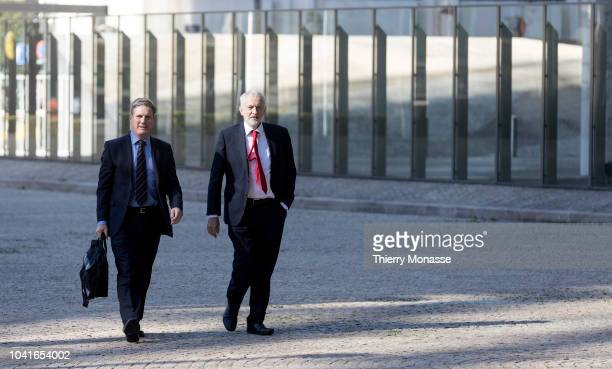 Leader of the British Opposition Jeremy Corbyn and Shadow Brexit secretary Sir Keir Starmer arrive for a bilateral meeting with the European Chief...