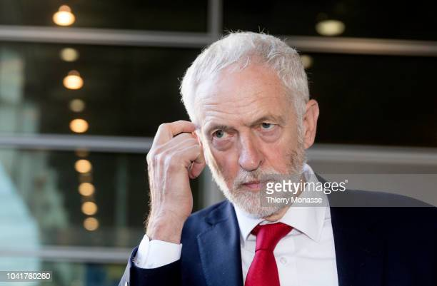 Leader of the British Opposition Jeremy Corbyn is talking to media after a bilateral meeting with the European Chief Negotiator for the United...