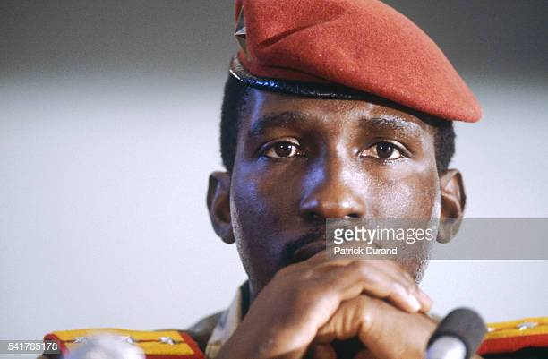 Leader of the Burkinabe revolution putting him at the head of the new government in Burkino Faso in 1983 Captain Thomas Sankara attends the eighth...