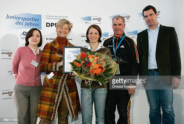 Leader of the business communication of dpd PiaMaria Zecevic chairman AnnKatrin Linsenhoff of the Deutsche Sporthilfe junior athlete of the year...