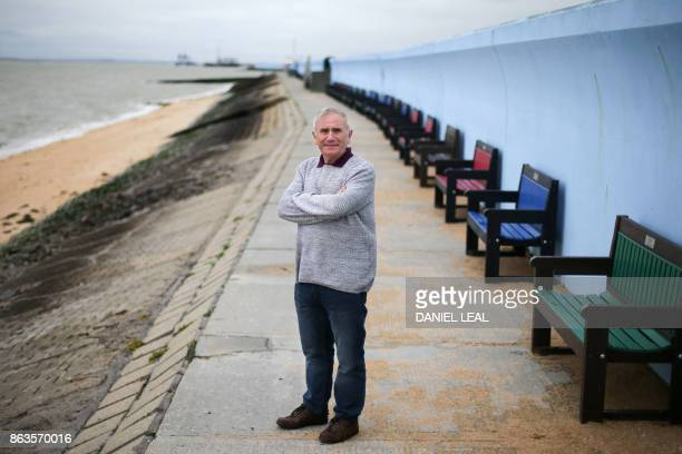 Leader of the Canvey Island Independent Party Dave Blackwell poses at the promenade on Canvey Island Essex on October 20 2017 A small island...