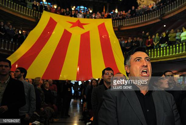 Leader of the Catalonian party ERC for Esquerra Republicana de Catalunya and candidate in the upcoming elections in Catalonia Joan Puigcercos takes...
