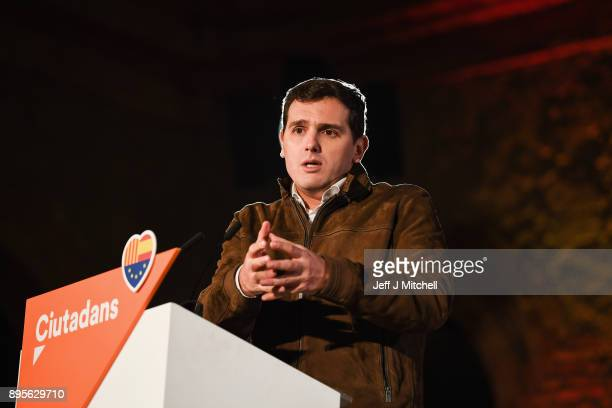 Leader of the center right party Citizens Albert Rivera addresses their closing election rally ahead of the forthcoming Catalan parliamentary...
