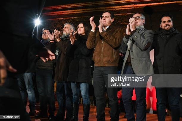 Leader of the center right party Citizens Albert Rivera and Candidate for the centerright party Citizens Ines Arrimadas attend their closing election...