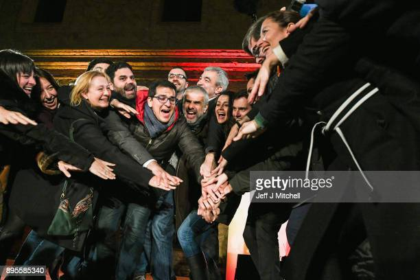 Leader of the center right party Citizens Albert Rivera and Candidate for the centerright party Citizens Ines Arrimadas joim members of the Citizens...