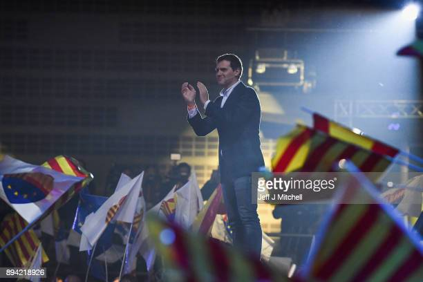 Leader of the center right party Ciudadanos Albert Rivera addresses a rally ahead forthcoming Catalan parliamentary election on December 17 2017 in...