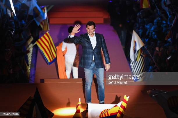 Leader of the center right party Ciudadanos Albert Rivera addresses a rally ahead of the forthcoming Catalan parliamentary election on December 17...