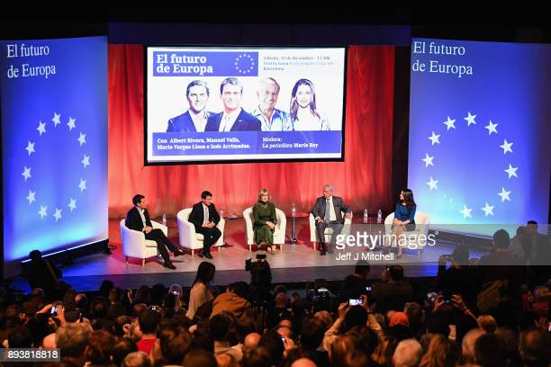 Leader of the center right party Ciudadanos Albert Rivera French former Prime Minister Manuel Valls jounalist Maria Rey Peruvian writer Mario Vargas...