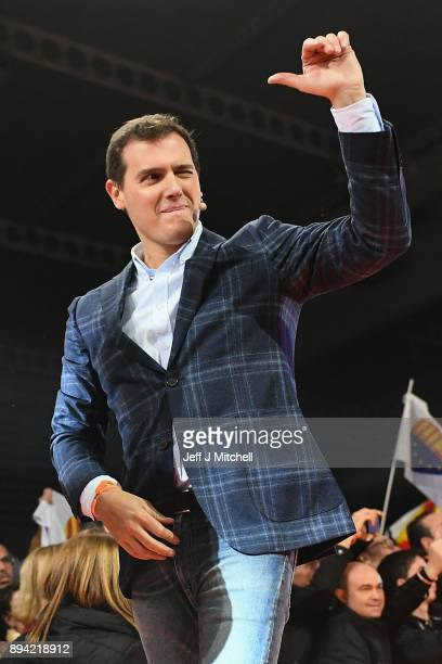 Leader of the center right party Ciudadanos Albert Rivera reacts after addressing a rally ahead forthcoming Catalan parliamentary election on...