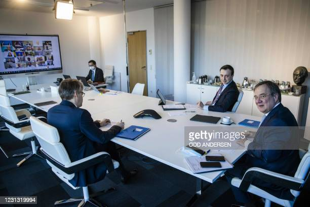 Leader of the Christian Democratic Union and North Rhine-Westphalia's State Premier Armin Laschet , Christian Democratic Union Secretary General Paul...