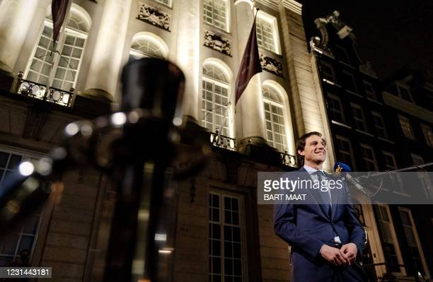 Leader of the Christian Democrats party CDA Wopke Hoestra, speaks to the media prior to the RTL election debate in Amsterdam, on February 28, 2021. -...