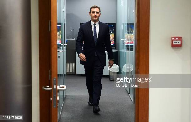 Leader of the Ciudadanos party Albert Rivera during press conference after his meeting with acting president Pedro Sanchez on October 16 2019 in...