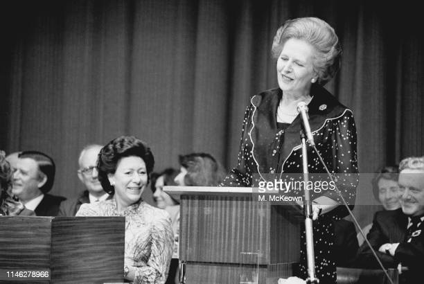 Leader of the Conservative Party and Prime Minister of the United Kingdom Margaret Thatcher speaking at an event in the presence of Princess Margaret...