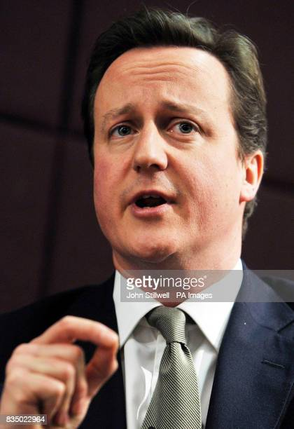 Leader of the Conservative Party David Cameron during a question and answer session at the launch of the thinktank Demos' new Progressive...