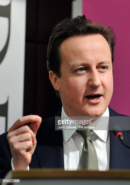 Leader of the Conservative Party David Cameron during his speech at the launch of the thinktank Demos' new Progressive Conservatism Project in...