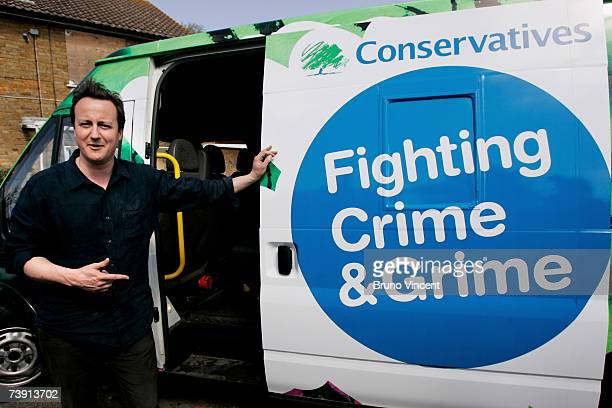 Leader of the Conservative party David Cameron prepares to leave after helping local council workers clean up a flytip on April 18 2007 in London Mr...