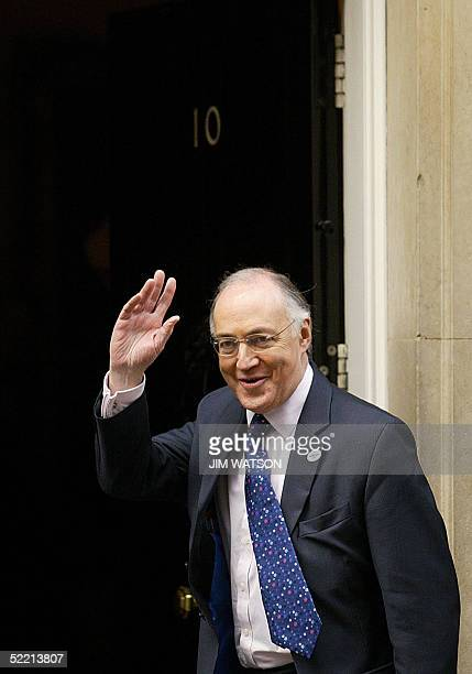 Leader of the Conservative Party Michael Howard waves as he enters No. 10 Downing Street 18 February 2005 to meet with British Prime Minister Tony...