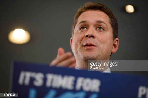 Leader of the Conservative Party of Canada Andrew Scheer speaks during a campaign stop on October 19 2019 in Toronto Canada Scheer will be facing off...