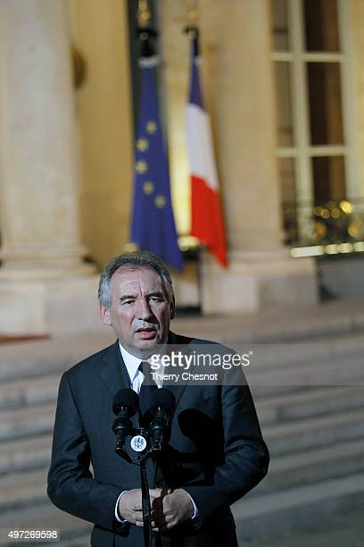 Leader of the Democratic Movement and Mayor of Pau Francois Bayrou delivers a speech after a meeting with the French President and the Prime Minister...