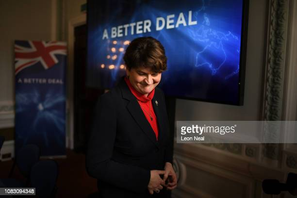 Leader of the Democratic Unionist Party Arlene Foster after a press conference to offer an alternative Brexit plan on January 15, 2019 in London,...