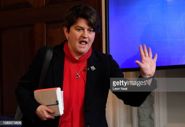 Leader of the Democratic Unionist Party Arlene Foster during a press conference to offer an alternative Brexit plan on January 15 2019 in London...