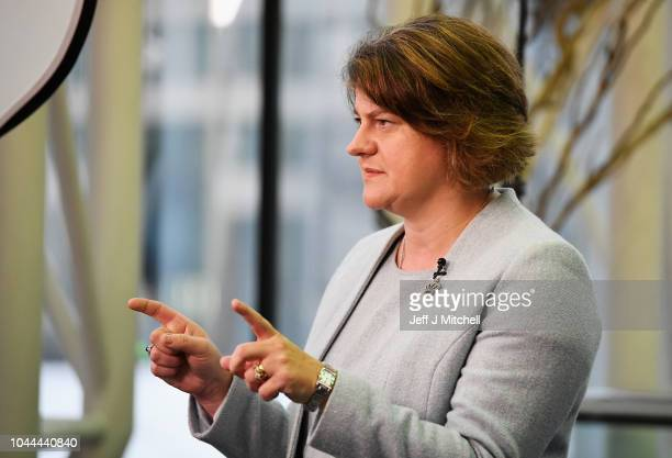 Leader of the Democratic Unionist Party Arlene Foster is seen during day three of the Conservative Party Conference on October 2 2018 in Birmingham...
