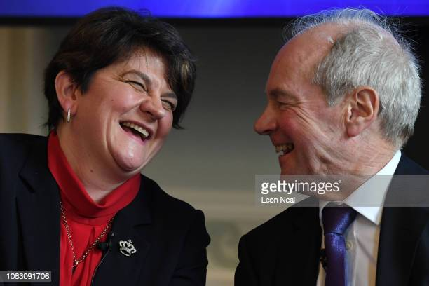 Leader of the Democratic Unionist Party Arlene Foster laughs with Lord Lilley during a press conference to offer an alternative Brexit plan on...