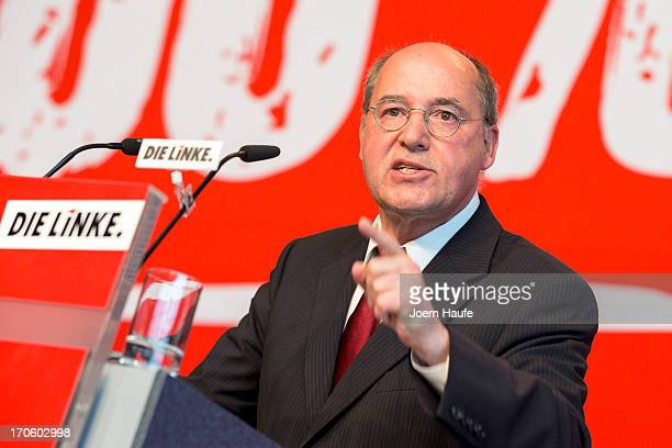Leader of the Die Linke Bundestag faction Gregor Gysi speaks at the party's federal convention on June 15 2013 in Dresden Germany Die Linke Germany's...
