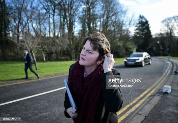 Leader of the DUP Arlene Foster arrives for a press conference following a meeting with the British Prime Minister Theresa May at Stormont House on...