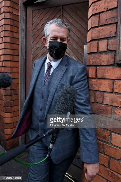 Leader of the DUP Edwin Poots leaves the DUP headquarters after meeting of the party officers with rumoured vote of no confidence on June 17, 2021 in...