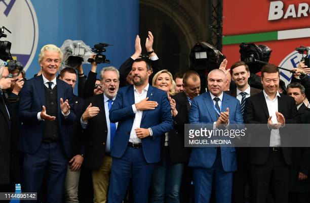 Leader of the Dutch Freedom Party Geert Wilders Belgian Flemish Vlaams Belang party member Gerolf Annemans Italian Deputy Prime Minister and Interior...