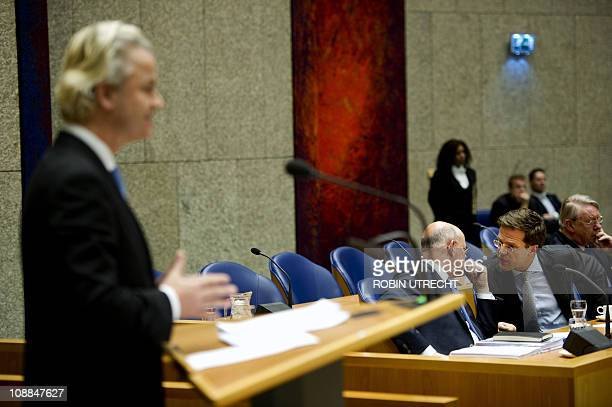 Leader of the Dutch political party PVV Geert Wilders speaks during a debate on the new Dutch mission in Afghanistan on January 27 in the Dutch...
