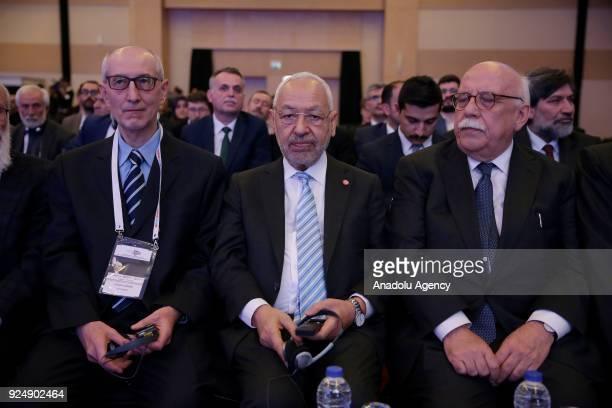 Leader of the EnNahda Movement Rached Ghannouchi and Turkeys former Culture and Tourism Minister Nabi Avci attend the Alija between East and West'...