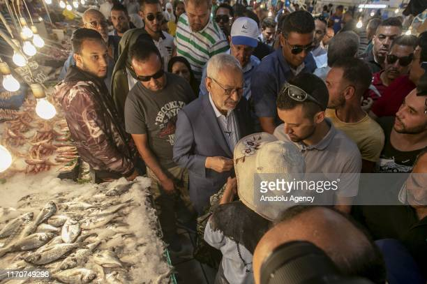 Leader of the En-Nahda Movement Rached Ghannouchi gathers with citizens as part of the election campaign within the Tunisia's presidential election,...